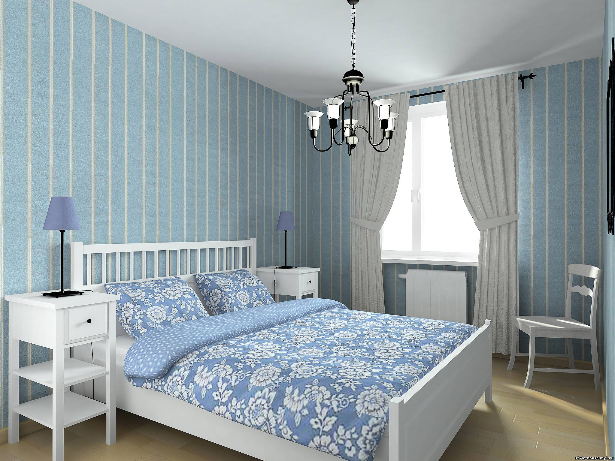 Голубая спальня фото дизайн